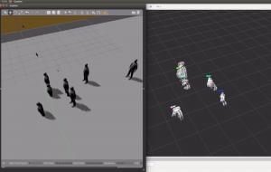 A gauche, le logiciel de simulation, à droite, la visualisation des nuages de points et leur filtre de Kalman associé