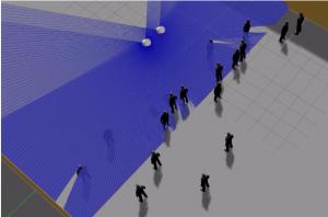 Simulation de détection par laser avec foule